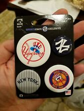 SportsCrate Set Of 4 MLB New York Yankees Pins Cooperstown Collection Sealed