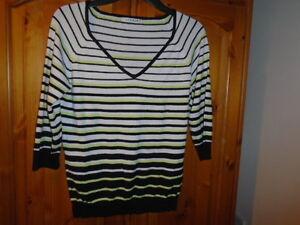1 Black, winter white and green stripe v-neck jumper, 3/4 sleeves, GEORGE, sz 12