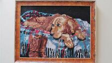 """Framed Art Needlepoint Man's Best Friend Dog & Boots 17"""" x 13"""""""
