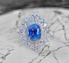 3.95 carat unheated Kashmir Sapphire & VS/F Diamond 950PT Ring - AGL - GRS - GIA