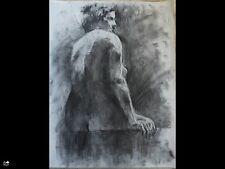Original large charcoal drawing-Art 65x50cm Female nude-woman