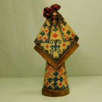 "13"" VINTAGE MEXICAN PAPER MACHE FIGURE of WOMAN SIGNED Gudd ? 1960'S Hand Paint"