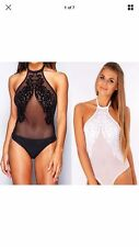 Womens Halter Neck Mesh Insert Bodysuit Top Ladies Backless Leotard Fancy Shirt