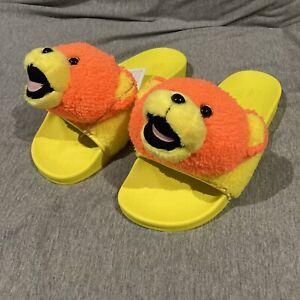 adidas x Jeremy Scott Adilette Teddy Sliders Yellow Orange UK 10 US 10 Q46582