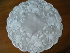 lot 2 Antique Doilies voile fabric roses hand embroidered white/white design