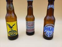 """Vintage Miniature Advertising Collectible Glass Beer Bottles 5"""" Venezuela Brands"""