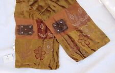 """NEW Tan Velvet Decorative Scarf or Runner Embroidered Made in India 10"""" x 60"""""""