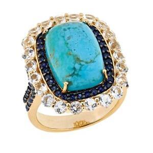 Paul Deasy Gem Kingman Turquoise, Sapphire And White Topaz Ring Size 6 Hsn