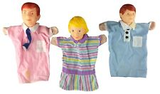 3 VTG Learning Resources Puppets Dolls Man Woman Boy Rubber Heads Cloth Shirts