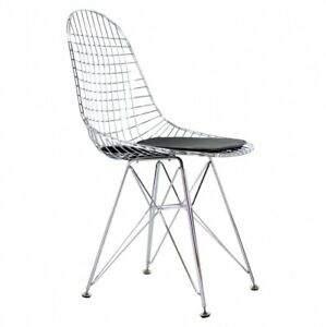 PREMIUM EAMES DKR REPLICA Wire Dining Chair / Black Italian Leather Seat Pad