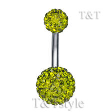 T&T 10mm Oliver Green Swarovski Crystal Ball Belly Bar Ring BL138G1