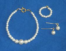 "Pearl Jewelry Set w/14K Necklace Earring for 15"" Miss Revlon Vtg  Fashion Dolls"