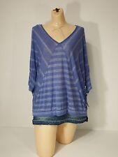 Womens Shirt Westbound Petites Blue Stripe V-Neck Batwing SZ Petite X-Large PXL