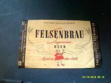 Vintage Irtp Felsenbrau Beer Bottle Label Cincinnati,Oh