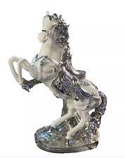 Large Italian Horse Ornament White & Silver Romany Ceramic 43cm Tall Beautiful