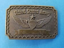 United States Army Belt Buckle with Star Wings Shield and Ribbon 3D Brass
