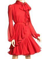 $3,165 Giambattista Valli Ruffle Tie Neck Bow Red Silk Dress US 2 4 / IT 40 / XS