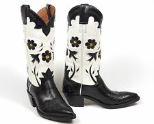 Rancho Loco Bluebird Cowboy Boots - Wms 6.5B Black White Inlaid Overlays Caboots