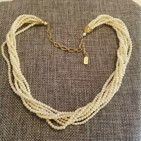 1928 Cream Faux Pearls 7 Strand Choker Twist Gold Tone Accent Necklace 1507