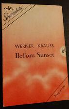 SHAFTESBURY THEATRE: WERNER KRAUSS - JOYCE BLAND in BEFORE SUNSET
