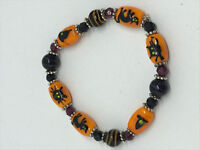 classy halloween lampworked glass cat and witch beaded stretch bracelet