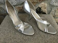 """NEW Banana Republic Strappy Silver Leather Sandals 3.5"""" Heels made in ITALY US 8"""