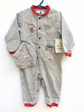 Mayfair Kids Boys Mechanic Construction Romper Coveralls Hat Set Blue NWT 24 Mo