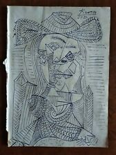 PABLO PICASSO      DRAWING INK ON ORIGINAL PAPER OF THE 900s
