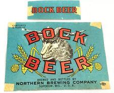 Vintage Norther Brewing Bock Superior Wisconsin 12 Oz Beer Label Goat Head
