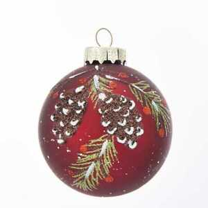 80MM Glass Red With Pinecone Design Ball Ornaments, 6-Piece Box Set w
