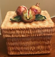 """Intrada Italian Ceramic 3D Pomegranate Box Canister 8.5"""" Square 8"""" H With Lid"""