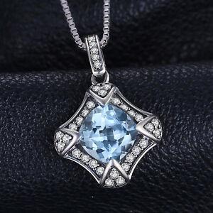 """2ct Natural Diamond Blue Retro Topaz 18"""" Necklace Pendant 925 Silver Fashion"""