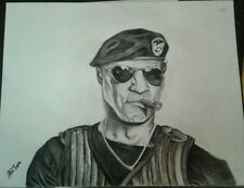 Sylvester Stallone/Barney Ross charcoal drawing/Expendables/action hero/artwork