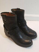 PIKOLINOS Monza Biker Boots Black Leather Buckle Studded Sz 7