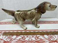 "Large 15"" Hunting Pointer Dog Ceramic Planter Pot Vintage"