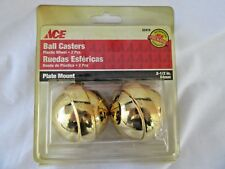 "ACE Ball Casters 2 1/2"" 64mm Plate Mount Plastic Wheels - Set of 2, NOS"