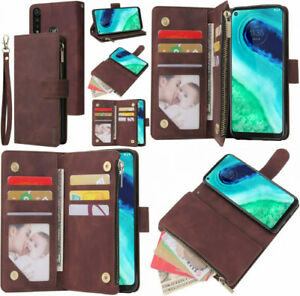 Motorola Moto G Fast Wallet Case Elegant Leather Zipper Folio Stand Cover Coffee