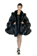 Womens Fox Fur Trim Cashmere Cape Plus Size Black