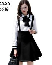 Size 12 Suspended Skirt Braces Cute Work Fairy Kei Kawaii Black Japanese Korean