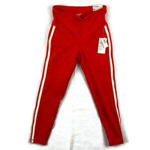 Old Navy Active Womens Go-Dry Red White Compression Leggings 7/8 Ankle Stretch M