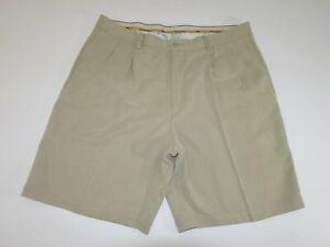 Tommy Bahama Men's Shorts Size 38 Beige Khaki Pleated Front 100% Silk