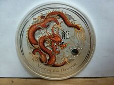 """2012 Australian 1oz .999 Silver Lunar """"Year of The Dragon"""" Colorized RED YELLOW"""