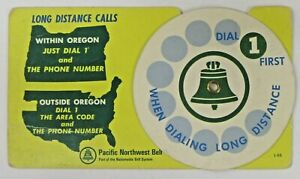 odd Portland Oregon PACIFIC NORTHWEST BELL Telephone mechanical dialing chart
