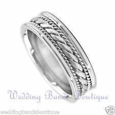 14K WHITE GOLD BRAIDED MENS WEDDING BAND TWISTED ROPE MANS MEN TWIST  RING  6mm