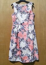 Coral & Cream floral semi fitted sleeveless dress EXCELLENT CONDITION