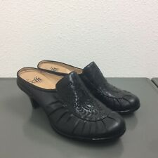 Women's Sofft Black Leather Heeled Mules Slip On Comfort Shoes Size 6.5M EUC!