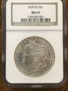 1878 CC Morgan Silver Dollar, NGC MS 63, A BEAUTIFUL, NEAR PROOF LIKE COIN