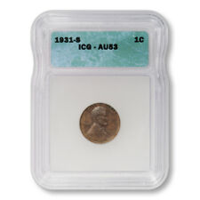 USA Lincoln Wheat Cent 1c 1931 S ICG AU53 About Uncirculated Key Date Penny