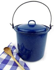 Blue Speckled Enamelware Stew Pot Campfire 3 Qt. Camping Cookware Lid and Handle
