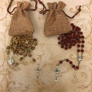 Olive Wood /  Pearl / Bead Jerusalem Cross Rosary Necklace Bethlehem PICK ANY